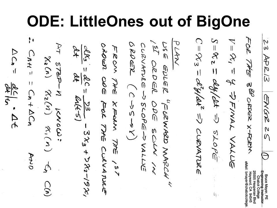 BMayer@ChabotCollege.edu ENGR-25_Tutorial_P9-34_Accelerating_Pendulum.pptx 5 Bruce Mayer, PE Engineering/Math/Physics 25: Computational Methods ODE: LittleOnes out of BigOne V =S =C =
