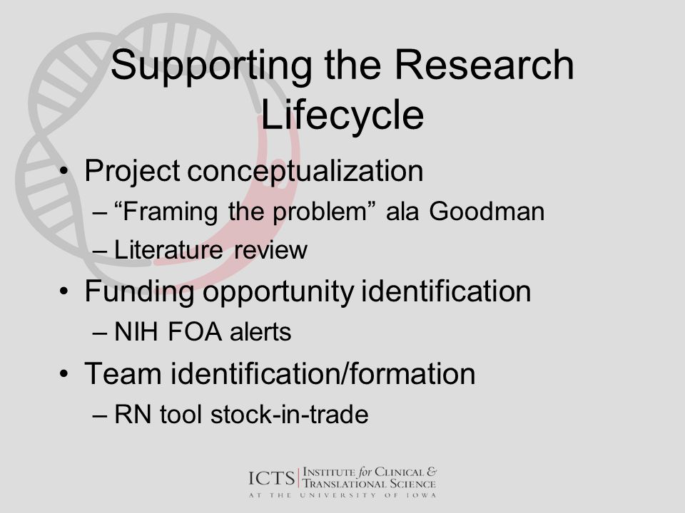 "Supporting the Research Lifecycle Project conceptualization –""Framing the problem"" ala Goodman –Literature review Funding opportunity identification –"
