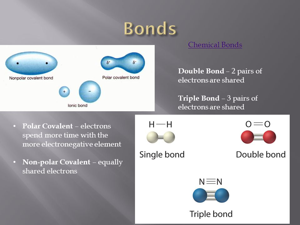Polar Covalent – electrons spend more time with the more electronegative element Non-polar Covalent – equally shared electrons Chemical Bonds Double B