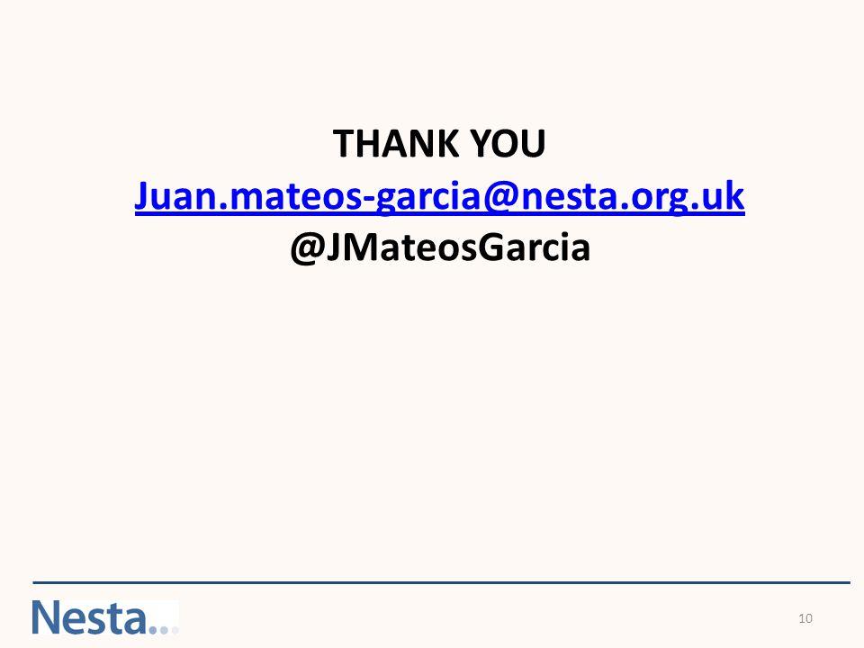 10 THANK YOU Juan.mateos-garcia@nesta.org.uk @JMateosGarcia