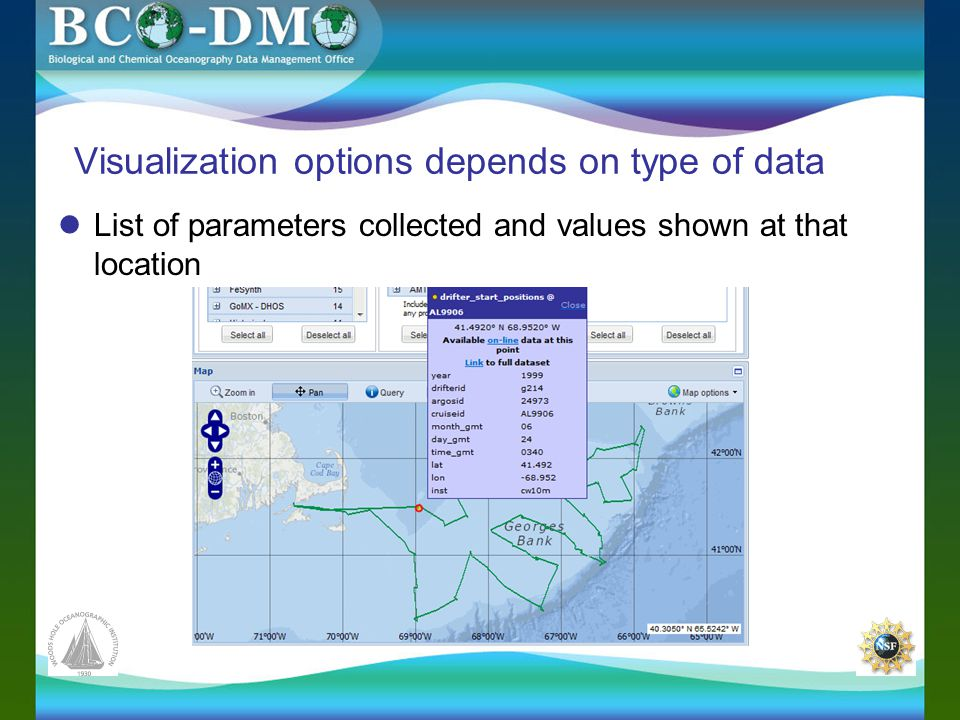 Visualization options depends on type of data List of parameters collected and values shown at that location