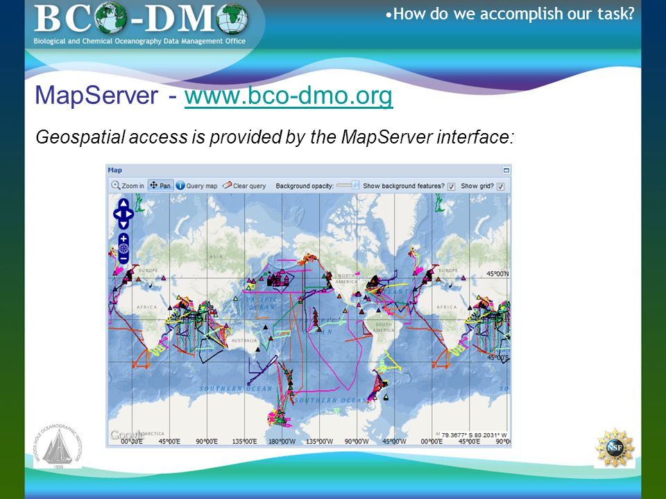 MapServer - www.bco-dmo.orgwww.bco-dmo.org Geospatial access is provided by the MapServer interface: How do we accomplish our task