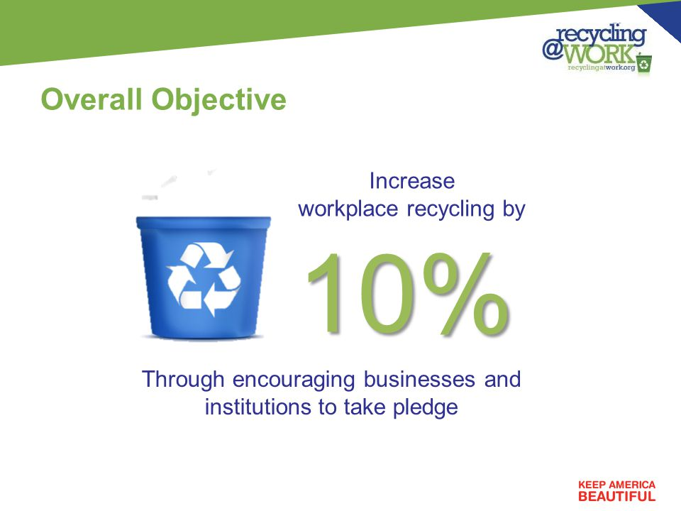 Overall Objective Through encouraging businesses and institutions to take pledge 10% Increase workplace recycling by