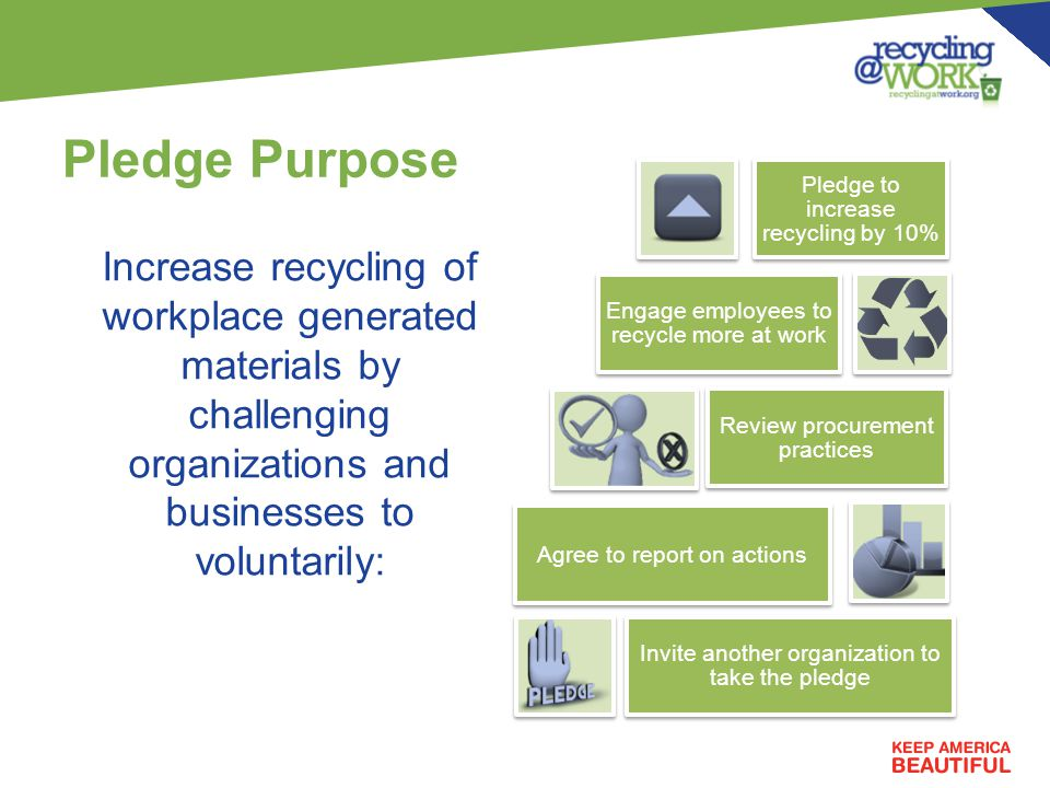 Pledge Purpose Increase recycling of workplace generated materials by challenging organizations and businesses to voluntarily: Pledge to increase recycling by 10% Engage employees to recycle more at work Review procurement practices Agree to report on actions Invite another organization to take the pledge