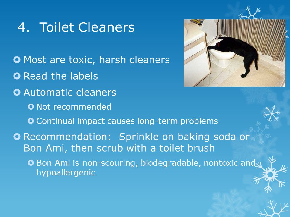 4. Toilet Cleaners  Most are toxic, harsh cleaners  Read the labels  Automatic cleaners  Not recommended  Continual impact causes long-term probl