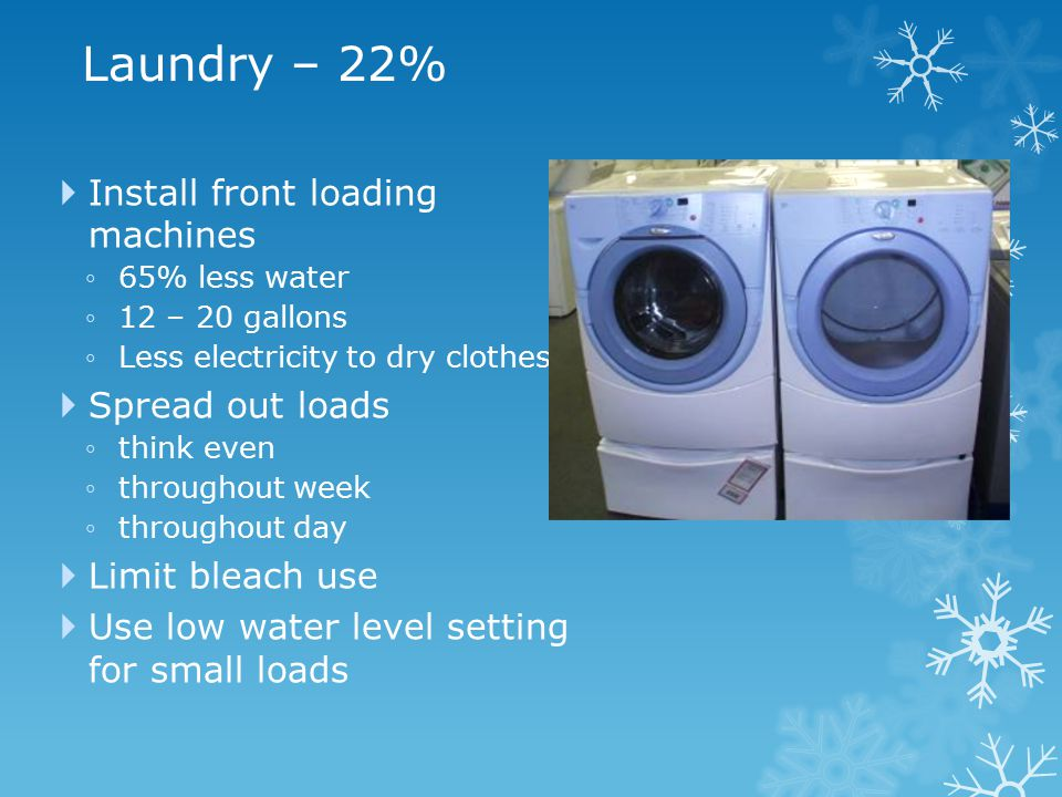 Laundry – 22%  Install front loading machines ◦65% less water ◦12 – 20 gallons ◦Less electricity to dry clothes  Spread out loads ◦think even ◦throughout week ◦throughout day  Limit bleach use  Use low water level setting for small loads