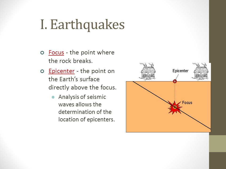 I. Earthquakes Focus - the point where the rock breaks.