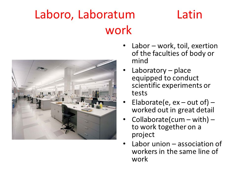 Laboro, LaboratumLatin work Labor – work, toil, exertion of the faculties of body or mind Laboratory – place equipped to conduct scientific experiment