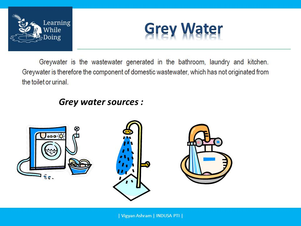 Grey water sources % Generated contaminants Grey water from bathroom50% -60% soap, shampoo, hair dye, toothpaste, cleaning products Grey water from cloth washing 25% -35% faecal contamination with the associated pathogens and parasites such as bacteria Grey water from kitchen8% - 10% Contaminated with oil, food particles and other wastes which supports growth of micro-organisms.