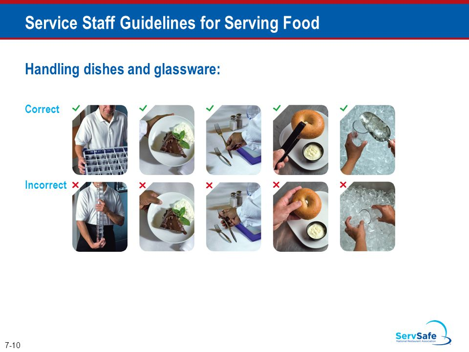 Handling dishes and glassware: 7-10 Service Staff Guidelines for Serving Food Correct Incorrect