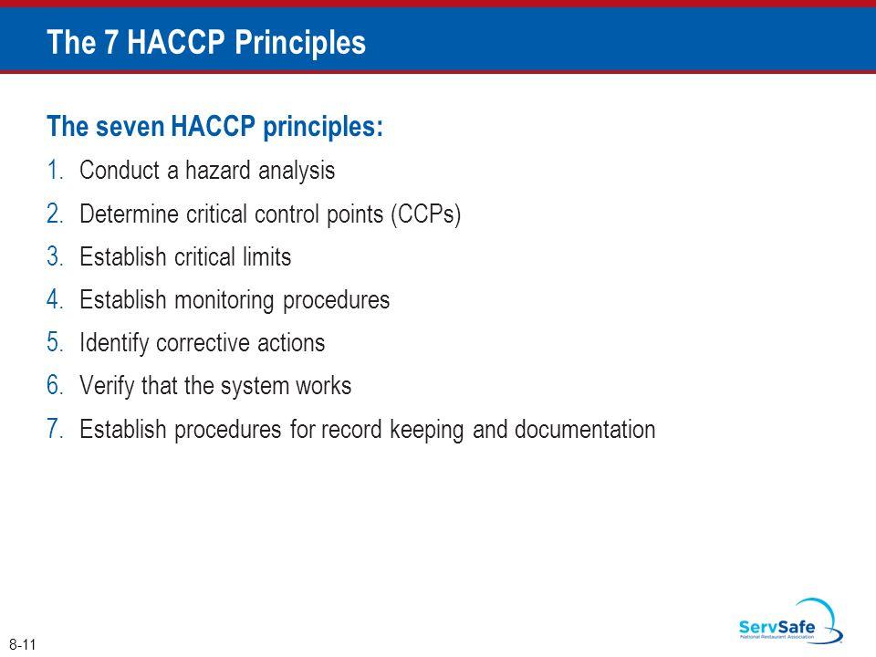 The seven HACCP principles: 1.Conduct a hazard analysis 2.Determine critical control points (CCPs) 3.Establish critical limits 4.Establish monitoring