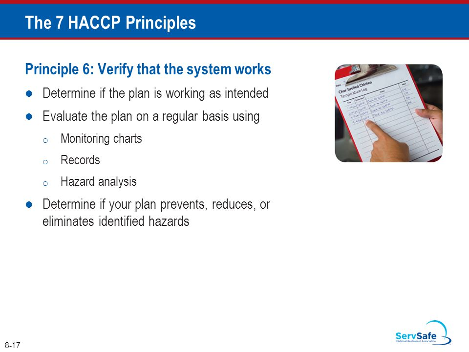 Principle 6: Verify that the system works Determine if the plan is working as intended Evaluate the plan on a regular basis using o Monitoring charts