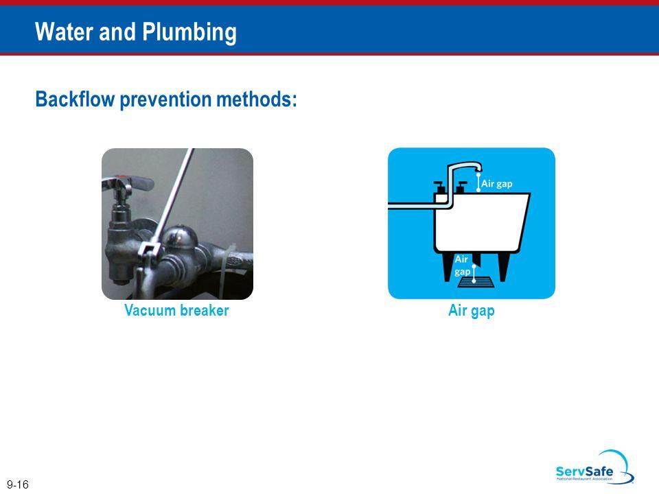 Vacuum breaker Backflow prevention methods: Air gap 9-16 Water and Plumbing