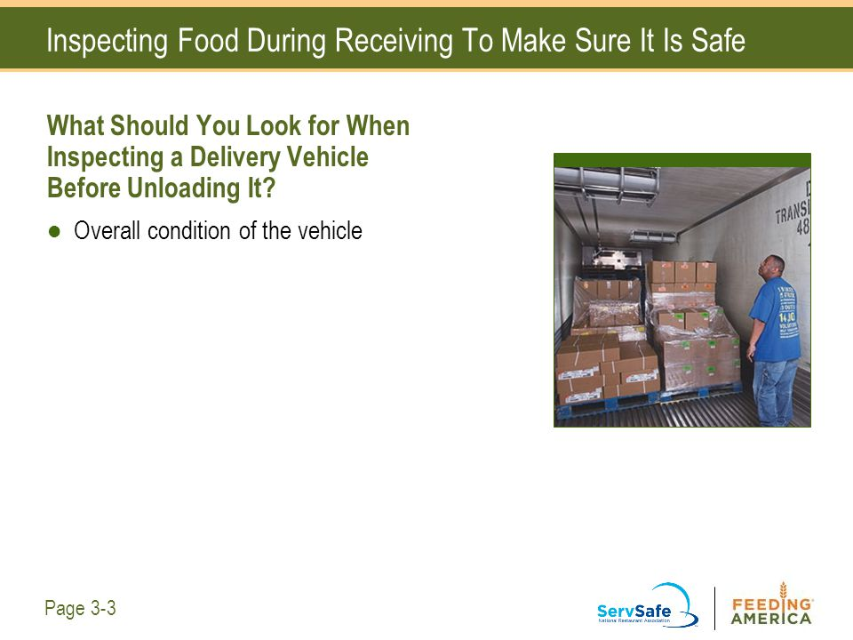 Inspecting Food During Receiving To Make Sure It Is Safe What Should You Look for When Inspecting a Delivery Vehicle Before Unloading It? Overall cond