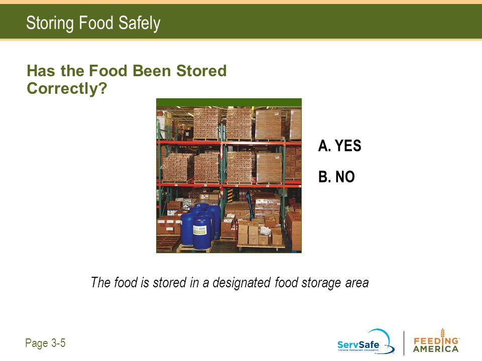 Has the Food Been Stored Correctly? A. YES B. NO The food is stored in a designated food storage area Storing Food Safely Page 3-5