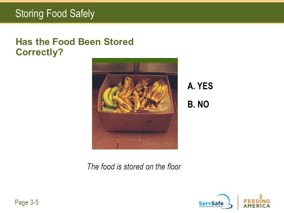 Has the Food Been Stored Correctly? A. YES B. NO The food is stored on the floor Storing Food Safely Page 3-5