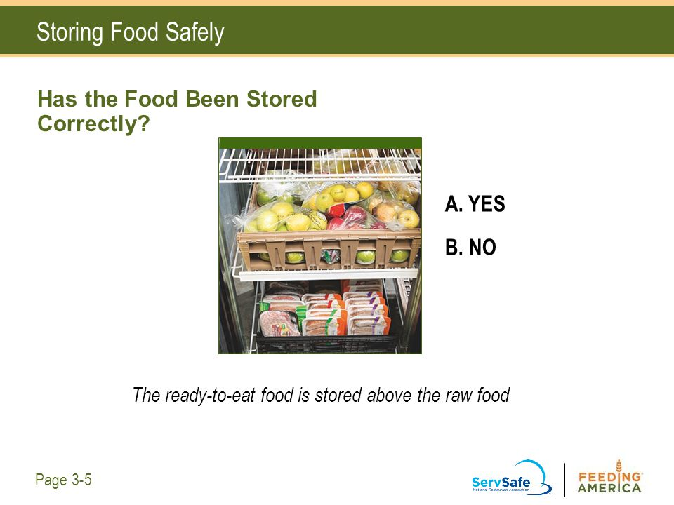 Has the Food Been Stored Correctly? A. YES B. NO The ready-to-eat food is stored above the raw food Storing Food Safely Page 3-5