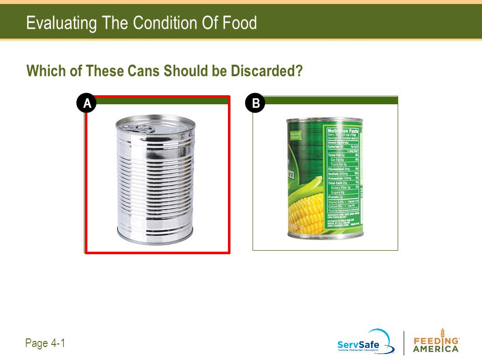 Evaluating The Condition Of Food Which of These Cans Should be Discarded? Page 4-1 AB