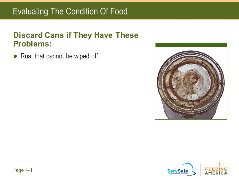 Evaluating The Condition Of Food Discard Cans if They Have These Problems: Rust that cannot be wiped off Page 4-1