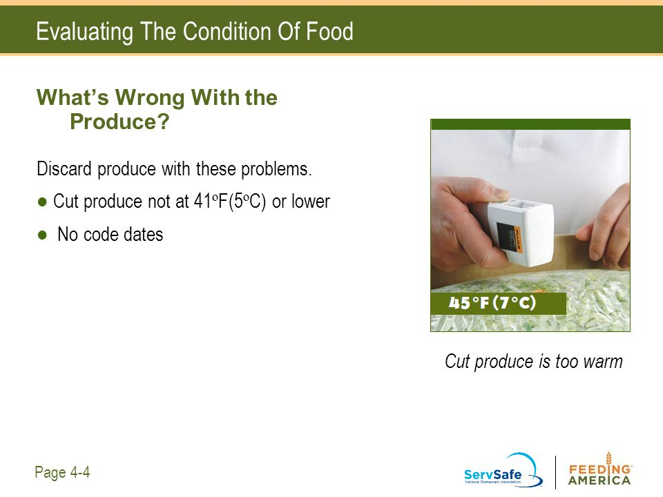 Evaluating The Condition Of Food What's Wrong With the Produce? Discard produce with these problems. Cut produce not at 41 º F(5 º C) or lower No code