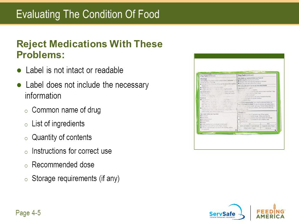 Evaluating The Condition Of Food Reject Medications With These Problems: Label is not intact or readable Label does not include the necessary informat