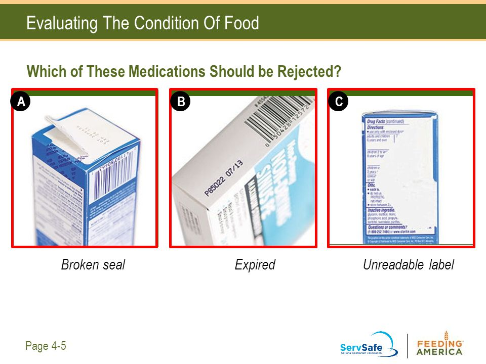 Which of These Medications Should be Rejected? Evaluating The Condition Of Food ABC Page 4-5 Broken seal ExpiredUnreadable label