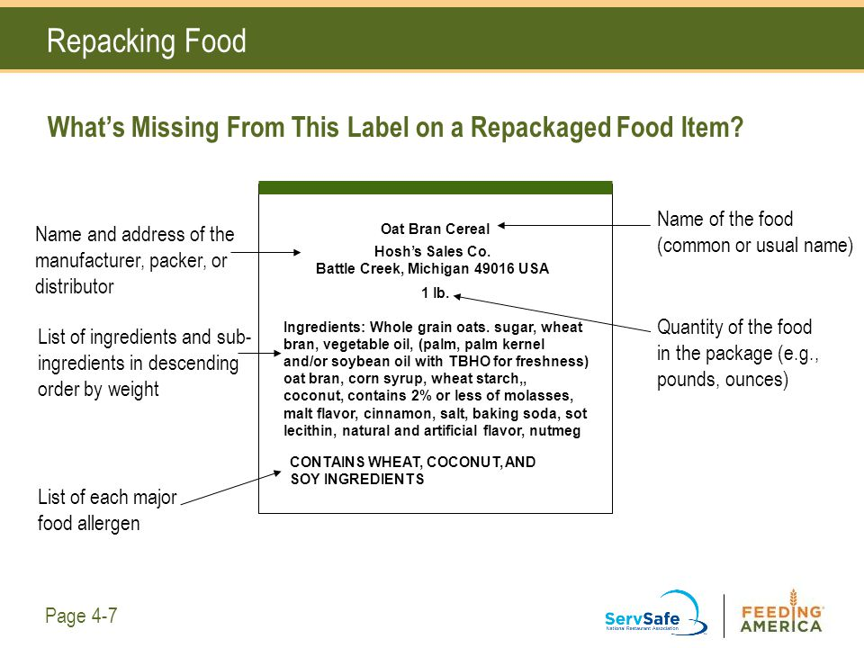 What's Missing From This Label on a Repackaged Food Item? Repacking Food Oat Bran Cereal 1 lb. Name and address of the manufacturer, packer, or distri