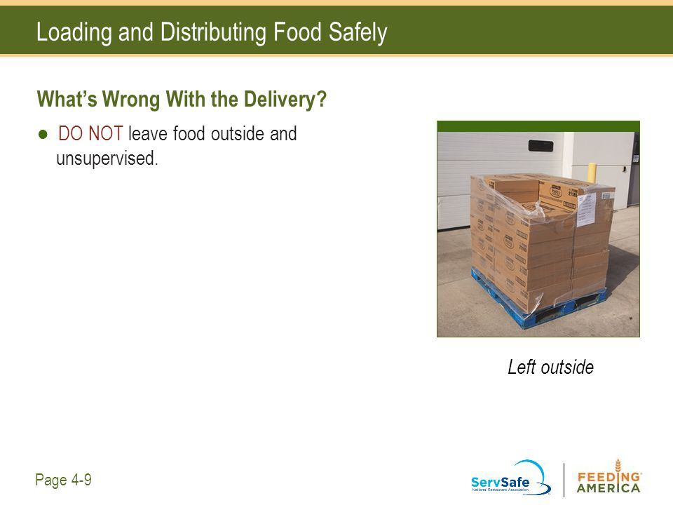 Loading and Distributing Food Safely What's Wrong With the Delivery? DO NOT leave food outside and unsupervised. Left outside Page 4-9