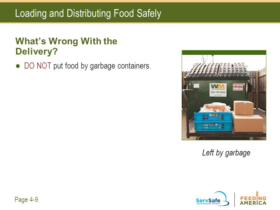 Loading and Distributing Food Safely What's Wrong With the Delivery? DO NOT put food by garbage containers. Left by garbage Page 4-9