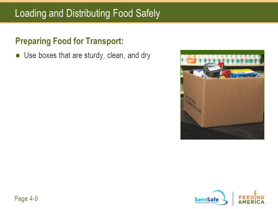 Loading and Distributing Food Safely Preparing Food for Transport: Use boxes that are sturdy, clean, and dry Page 4-9