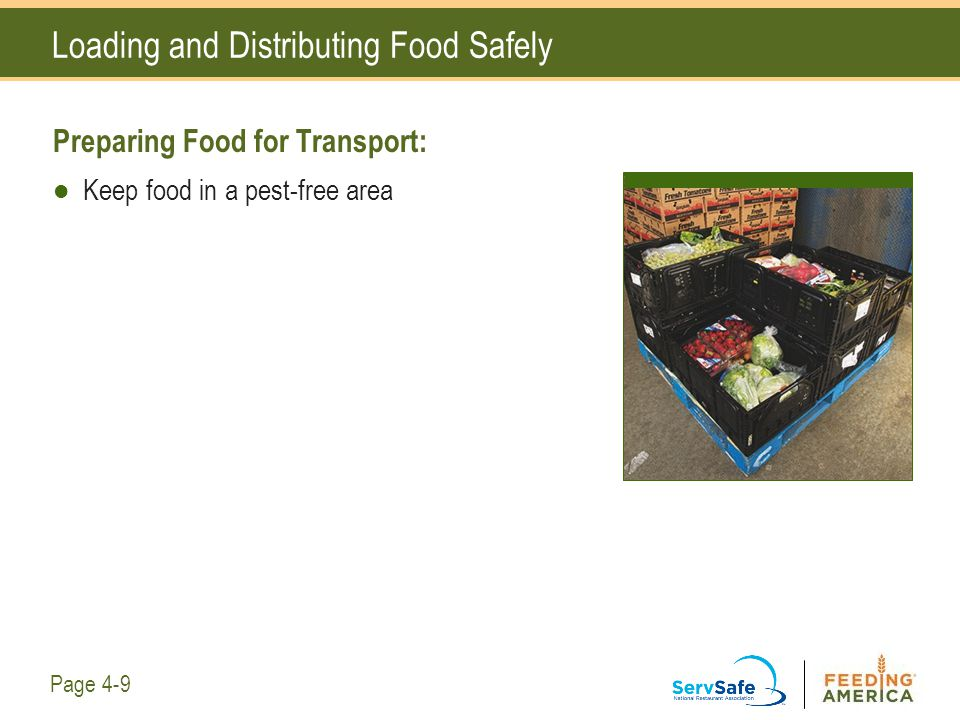 Loading and Distributing Food Safely Preparing Food for Transport: Keep food in a pest-free area Page 4-9