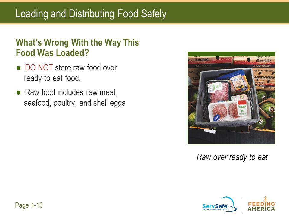 Loading and Distributing Food Safely What's Wrong With the Way This Food Was Loaded? DO NOT store raw food over ready-to-eat food. Raw food includes r
