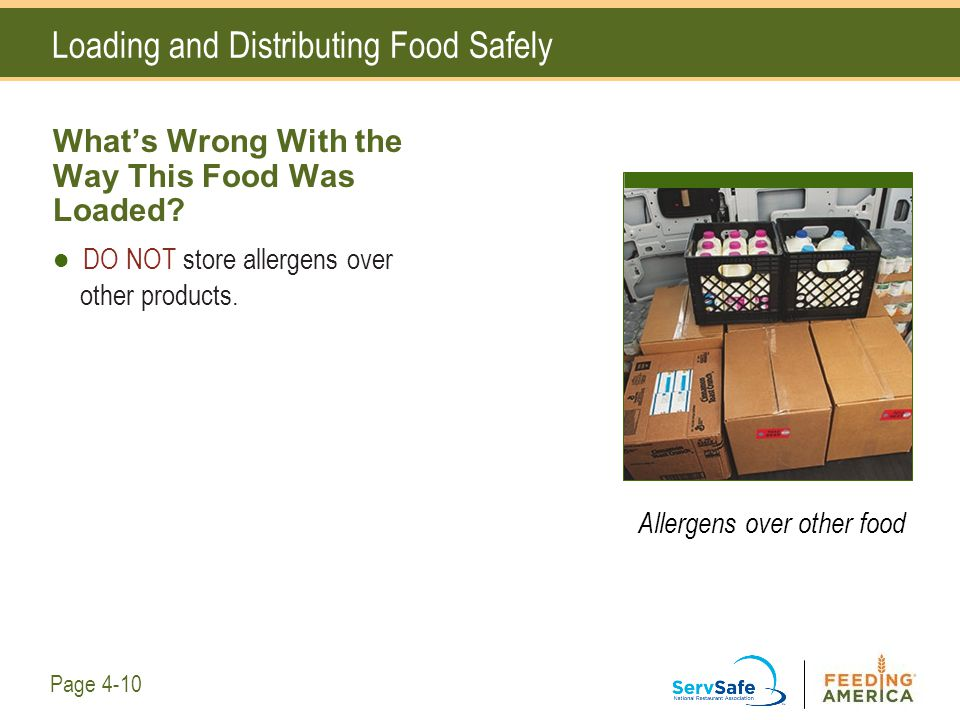 Loading and Distributing Food Safely What's Wrong With the Way This Food Was Loaded? DO NOT store allergens over other products. Allergens over other
