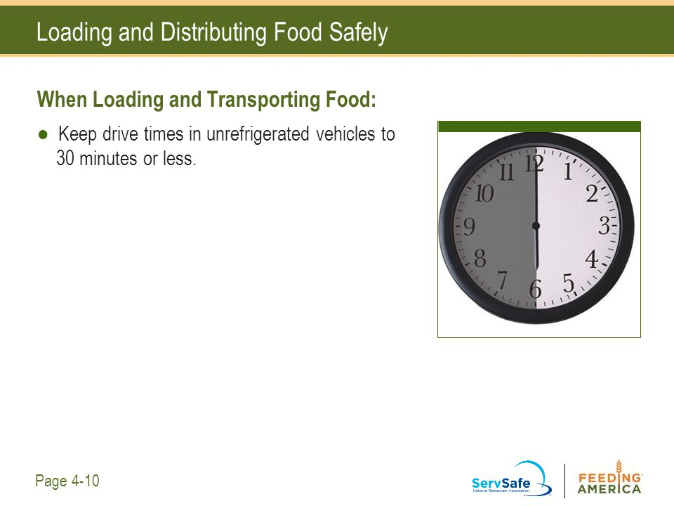 Loading and Distributing Food Safely When Loading and Transporting Food: Keep drive times in unrefrigerated vehicles to 30 minutes or less. Page 4-10