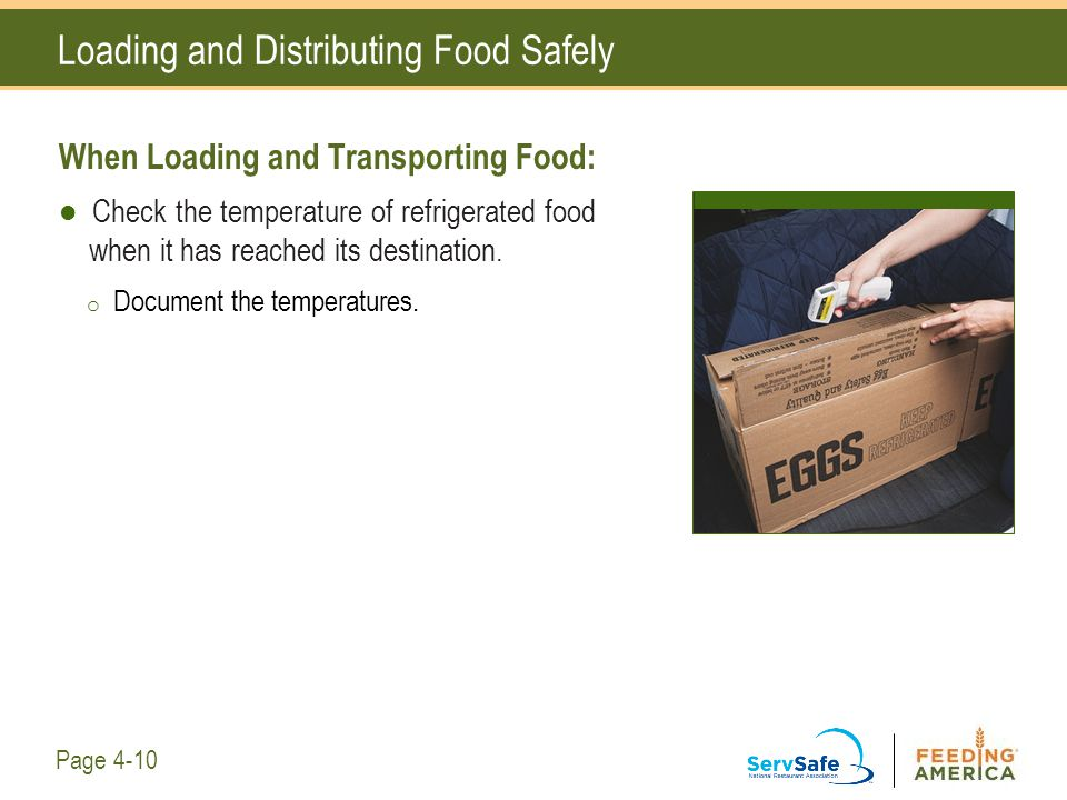 Loading and Distributing Food Safely When Loading and Transporting Food: Check the temperature of refrigerated food when it has reached its destinatio