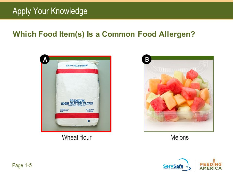 Apply Your Knowledge Which Food Item(s) Is a Common Food Allergen? Wheat flourMelons Page 1-5 AB