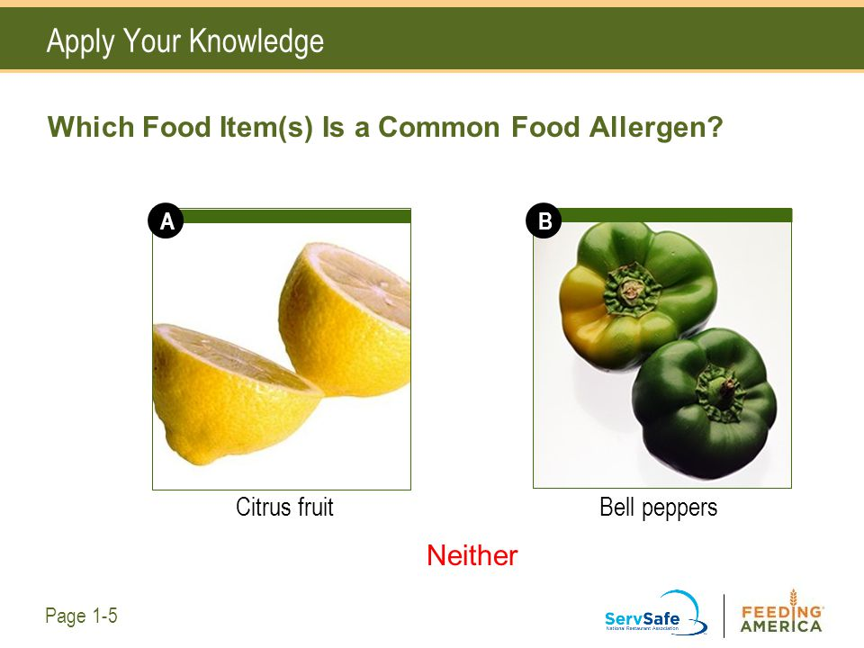 Which Food Item(s) Is a Common Food Allergen? Citrus fruitBell peppers Apply Your Knowledge Page 1-5 AB Neither