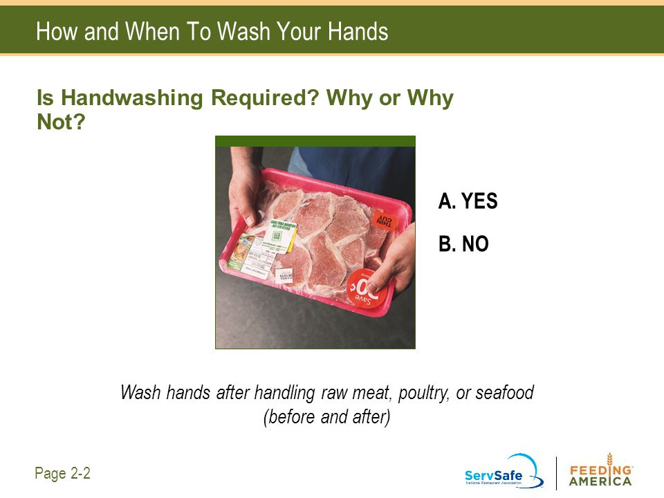 How and When To Wash Your Hands A. YES B. NO Wash hands after handling raw meat, poultry, or seafood (before and after) Page 2-2 Is Handwashing Requir