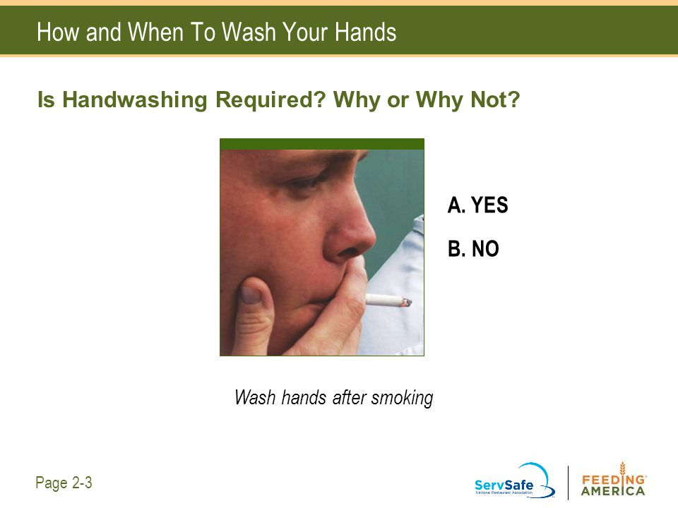 How and When To Wash Your Hands Is Handwashing Required? Why or Why Not? A. YES B. NO Wash hands after smoking Page 2-3