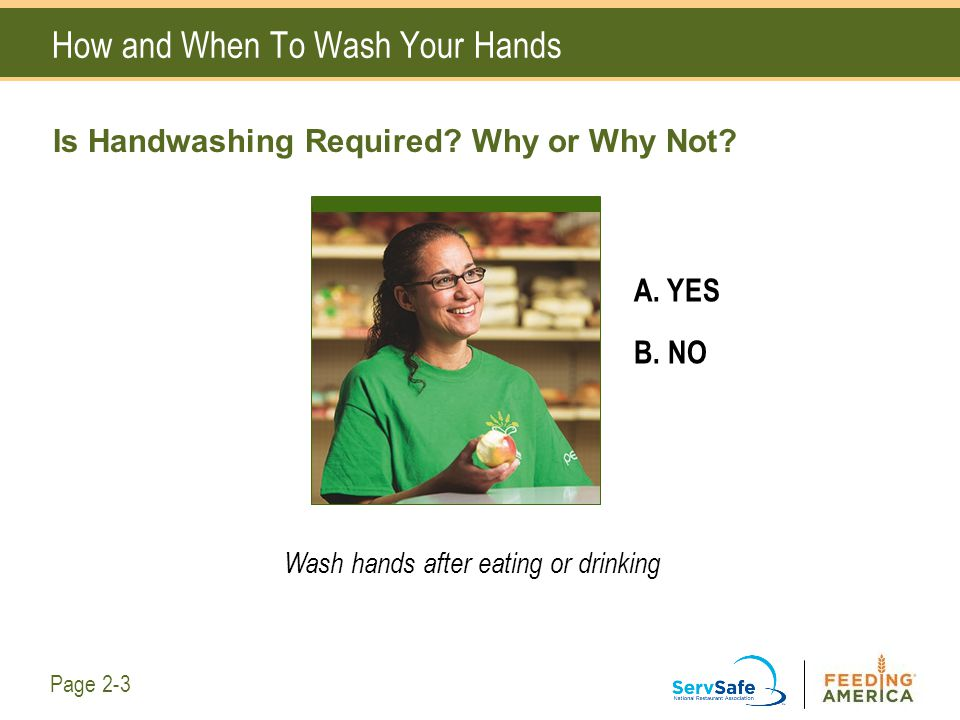 How and When To Wash Your Hands Is Handwashing Required? Why or Why Not? A. YES B. NO Wash hands after eating or drinking Page 2-3