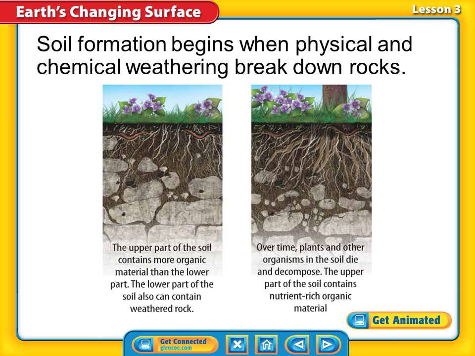 Lesson 3-1 Soil formation begins when physical and chemical weathering break down rocks.