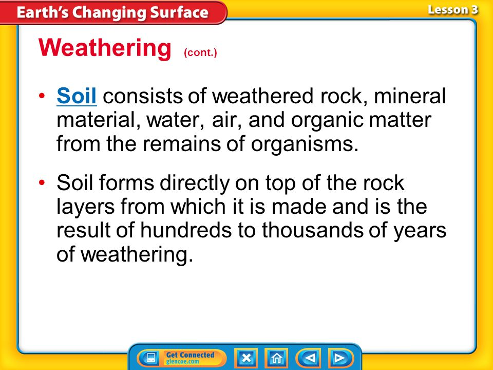 Lesson 3-1 Physical weathering exposes more surface area of rocks, allowing more water and atmospheric gases to enter rocks. Chemical weathering weake