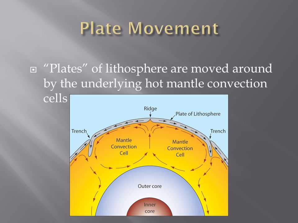 """ """"Plates"""" of lithosphere are moved around by the underlying hot mantle convection cells"""