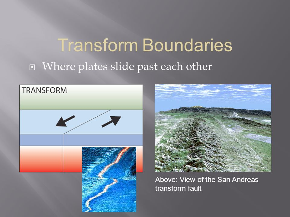  Where plates slide past each other Transform Boundaries Above: View of the San Andreas transform fault