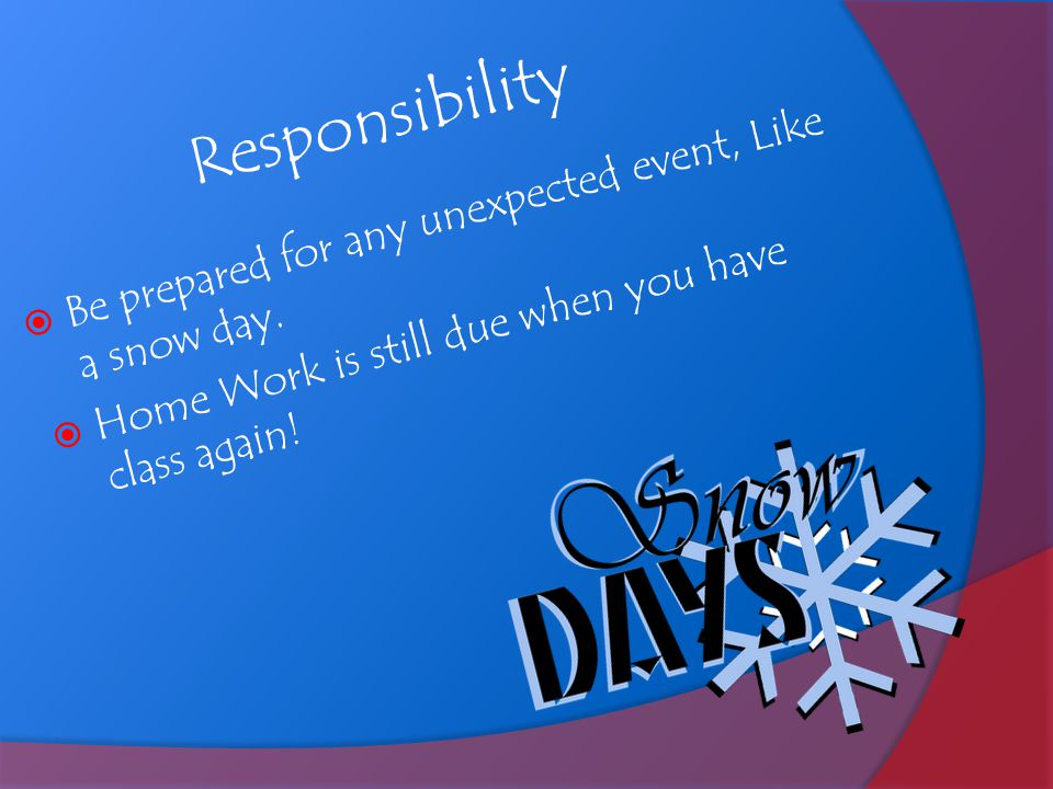 Responsibility  Be prepared for any unexpected event, Like a snow day.  Home Work is still due when you have class again!