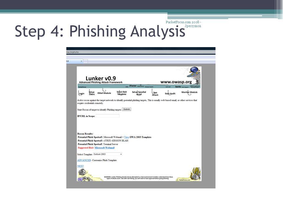 Step 4: Phishing Analysis PacketFocus.com 2008 - Jperrymon