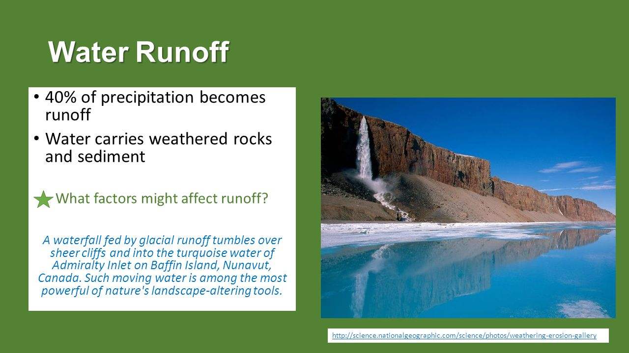 Water Runoff 40% of precipitation becomes runoff Water carries weathered rocks and sediment What factors might affect runoff.