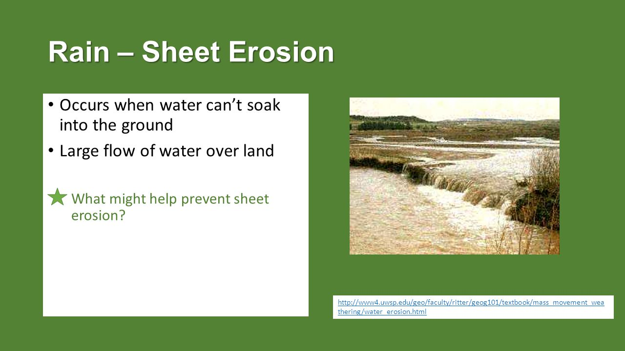 Rain – Sheet Erosion Occurs when water can't soak into the ground Large flow of water over land What might help prevent sheet erosion.