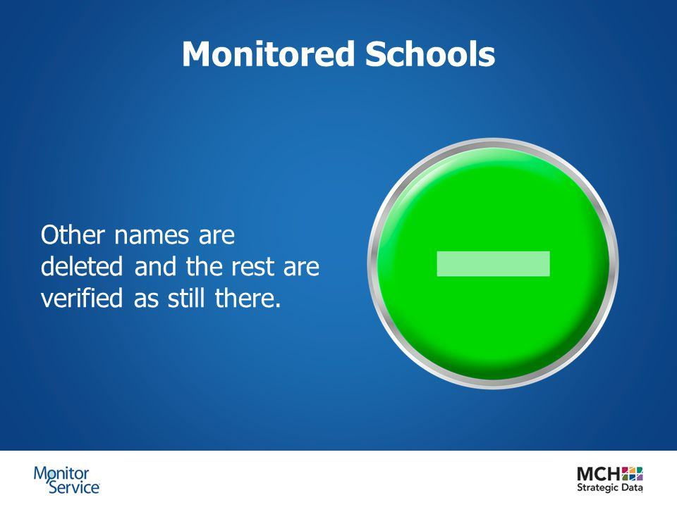 Monitored Schools Other names are deleted and the rest are verified as still there.