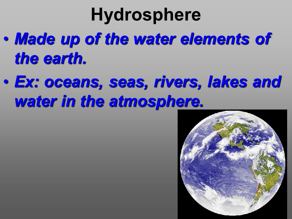 Hydrosphere Made up of the water elements of the earth.Made up of the water elements of the earth.